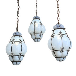 Three Caged Glass Italian Pendants For Sale