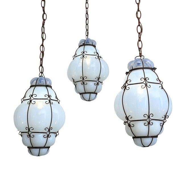 Three Caged Glass Italian Pendants For Sale