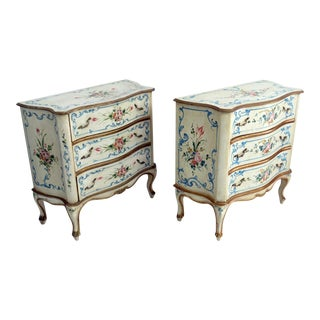 Louis XV Distressed Paint 3-Drawer Dressers - A Pair