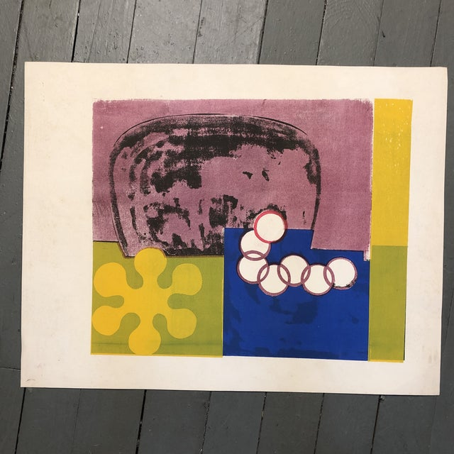 1970s Original Vintage Mid Century Modern Abstract Lithograph For Sale - Image 5 of 5
