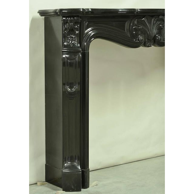 Mid 19th Century Black Marble Louis XV Fireplace Mantel, 19th Century For Sale - Image 5 of 8