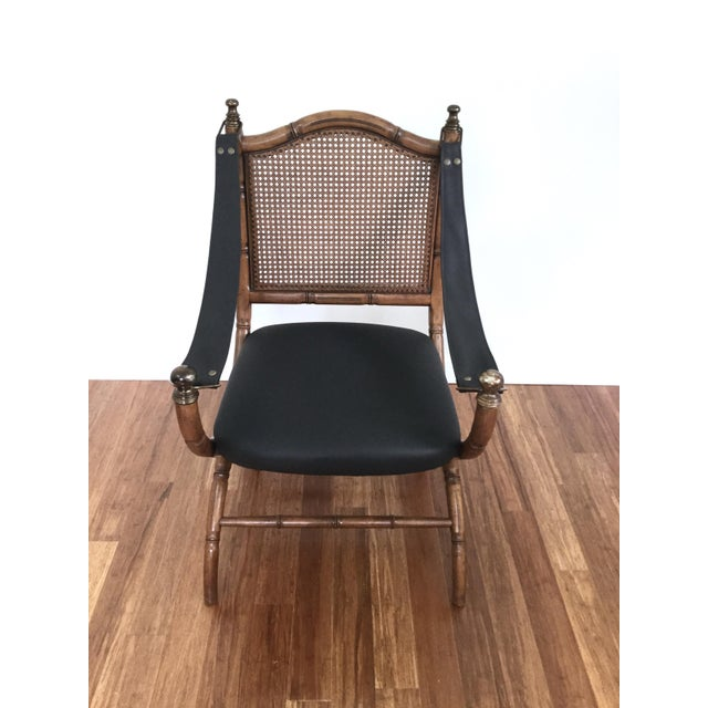 Campaign Drexel Faux Bamboo & Cane Chair For Sale - Image 3 of 6