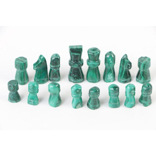 Vintage Malachite and Calcite Miniature Chess Set For Sale - Image 4 of 9