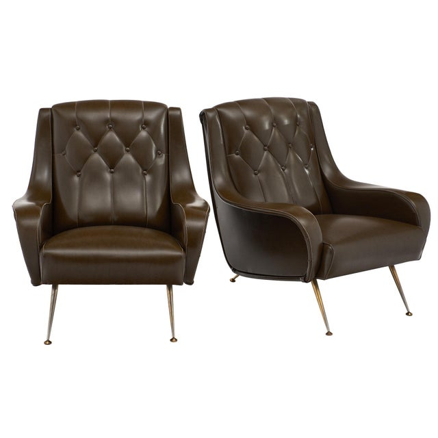 Vintage French Modernist Brown Vinyl Armchairs - a Pair For Sale - Image 10 of 10