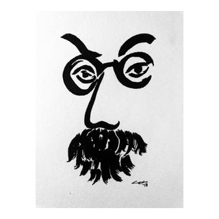 """Modern Original Pen & Ink Drawing, """"Famous Portrait"""" by Christy Almond For Sale"""