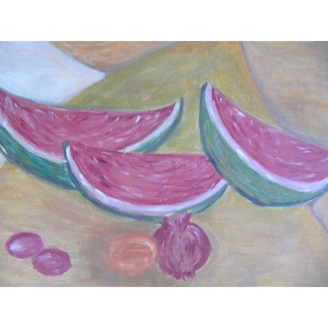 Mid-Century Still Life Painting of Watermelon and Pomegranate For Sale - Image 6 of 8