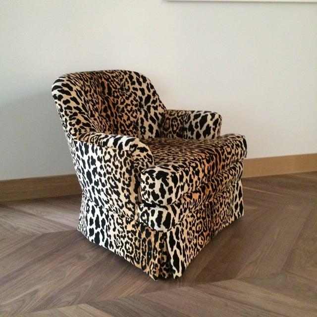 Mid Century Velvet Leopard Print Club Chair - Image 2 of 7