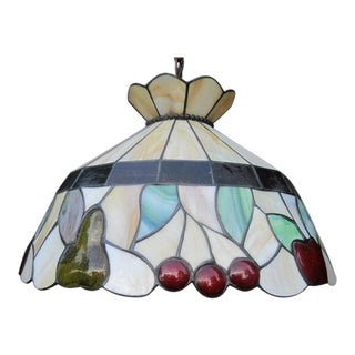 Vintage Stained-Slag Glass Chandelier For Sale