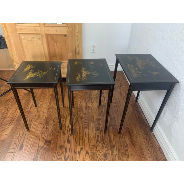 1940s Japanese Black Lacquer Nesting Table With Hand Painting - Set of 3 For Sale - Image 4 of 13