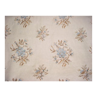 Brunschwig & Fils Marwood Indigo Embroidery Upholstery Fabric - 2 1/2 Yards For Sale