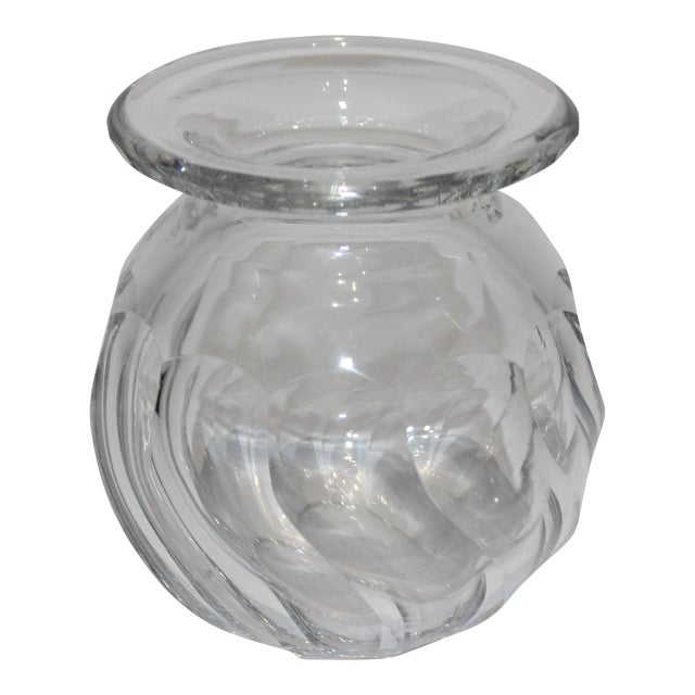 Petit Crystal Vase in Wave Pattern 1940s For Sale