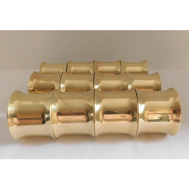 Gold Solid Brass Vintage Napkin Rings - Set of 12 For Sale - Image 8 of 13