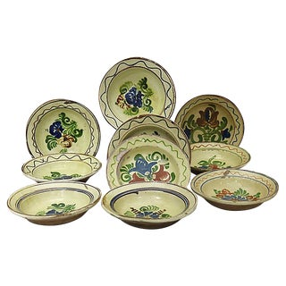 Antique Rustic French Glazed Bowls - Set of 10 For Sale