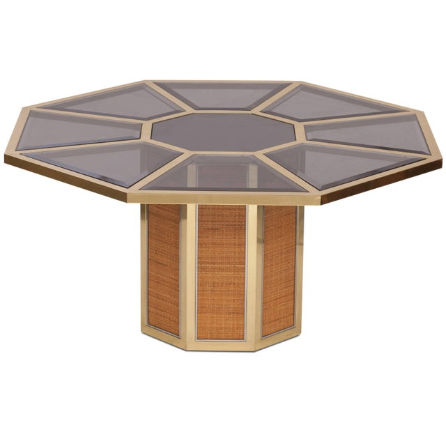 Wicker Italian Glam Octagonal Dining Table by Romeo Rega For Sale - Image 7 of 7