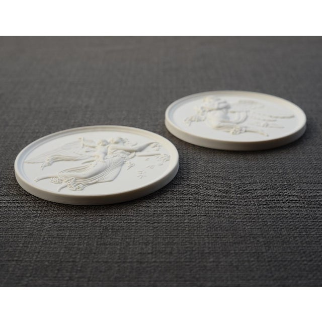 Mid 20th Century Danish Bing & Grondahl Bisque Porcelain Relief Angel Wall Plaques - a Pair For Sale - Image 5 of 7