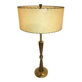 Danish Modern Wooden Table Lamp and Fiberglass Shade For Sale