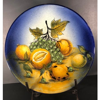 Rustic Southwestern Mexican Hand Painted Plate Fruit Decor Lemons and Grapes Preview