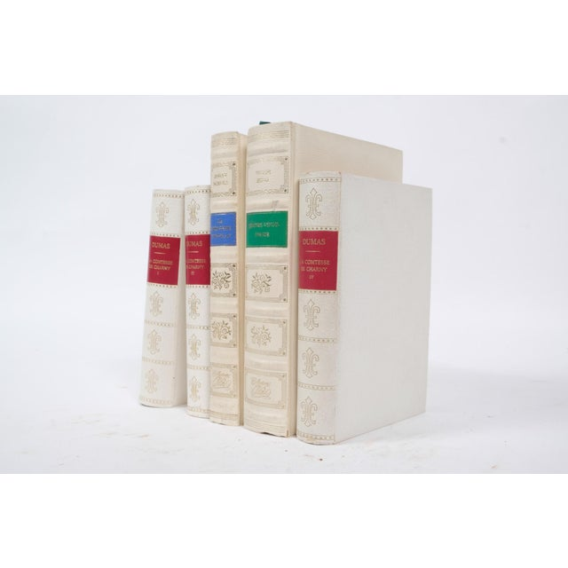 French French Leather Bound Books S/5 For Sale - Image 3 of 4