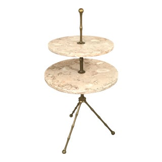 Two Tier Marble and Brass Drinks Stand For Sale