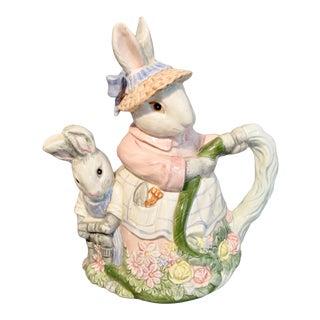 1989 Fitz & Floyd Bunny Rabbit Teapot Pastel Colors on Porcelain For Sale