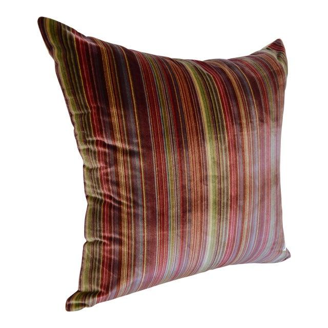Scalamandré 100% Silk Velvet Rainbow Stripe Pillow For Sale