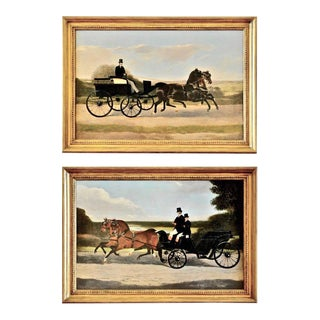 Pair of 19th Century English or American Horse and Equestrian Coaching Scenes