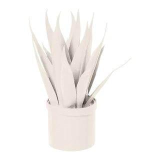 Stray Dog Designs for Chairish Mother-In-Law Tongue Faux Plant, White For Sale