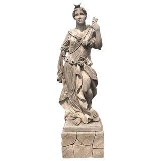 Early 19th Century Devine Diana Limestone Statue From Italy For Sale