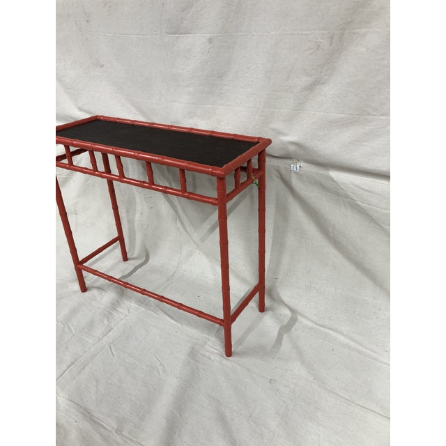 Chinoiserie 1980s Hand Painted Bamboo Hall Table For Sale - Image 3 of 5