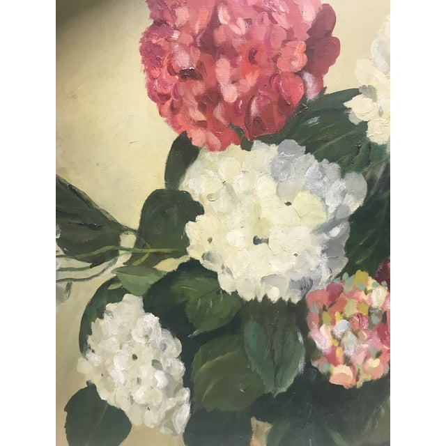 1952 Oil Painting by H G White, Still Life Hydrangeas For Sale - Image 4 of 8
