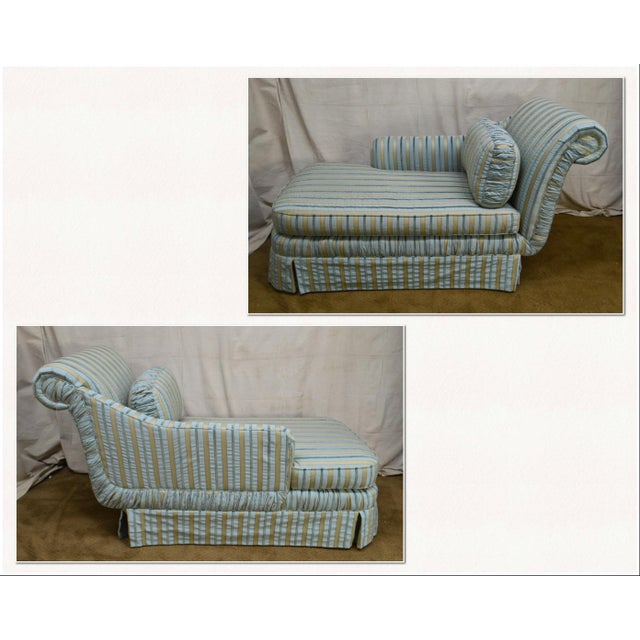 *STORE ITEM #: 18230-ax Cox Quality Upholstered Recamier Chaise Lounge AGE / ORIGIN: Approx. 20 years, America DETAILS /...