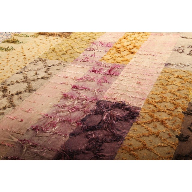 Hand Knotted Pile & Flat Vintage Rug - 6′8″ × 9′9″ For Sale - Image 4 of 6