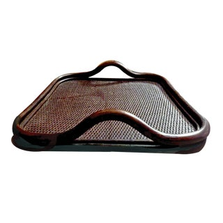 1965 Espresso Toned Rattan Serving Tray W/ Textured Inside Lining For Sale
