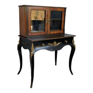 19th Century French Napoleon III Kingwood and Black Ebonized Writing Table 1850s For Sale