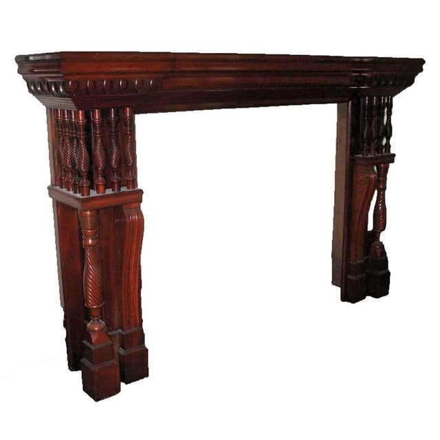 Carved Mahogany & Tile Mantel For Sale - Image 6 of 10
