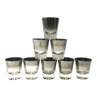 1960s Barware Shot Glasses with Silver Overlay by Dorothy Thorpe - Set of 8 For Sale