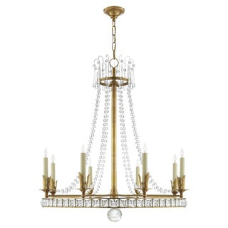 Visual Comfort Sn 5108hab Joe Nye Traditional Regency Large Chandelier in Hand-Rubbed Antique Brass With Seeded Glass For Sale