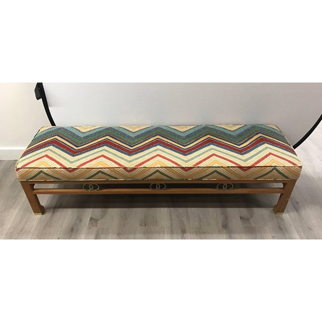 James Mont 1980s James Mont Style Upholstered Long Bench For Sale - Image 4 of 6