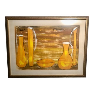 Mid 20th Century Still Life of Bottles Gouache Painting, Framed For Sale