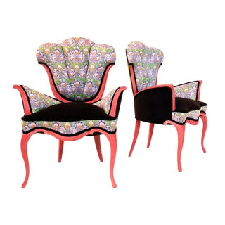 Mid Century Modern Scalloped Tulip Accent Chairs - a Pair For Sale
