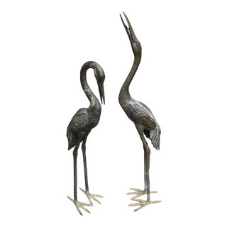 Bronze Crane Statues Life-Sized - a Pair For Sale