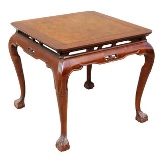 "Vintage Drexel Heritage ""Ming Treasure"" Square Clawfoot Side Table For Sale"
