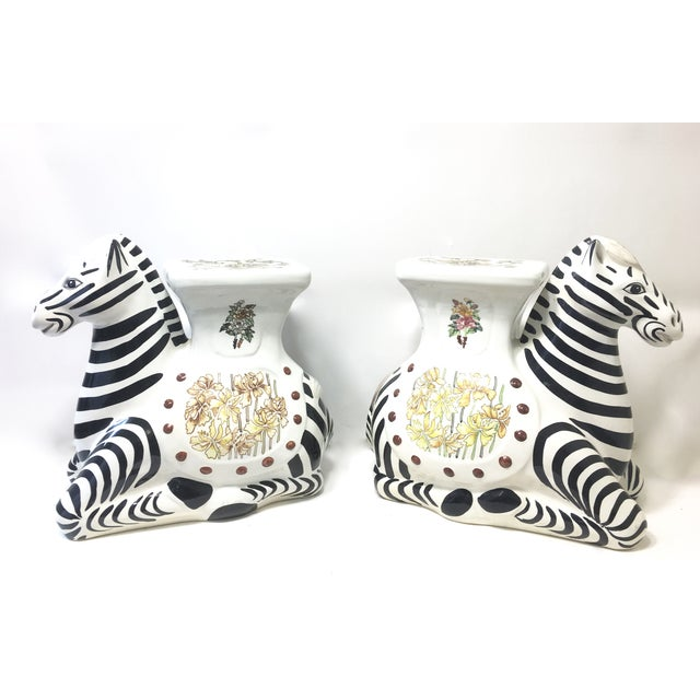 Hollywood Regency Zebra Garden Stools - A Pair - Image 3 of 7