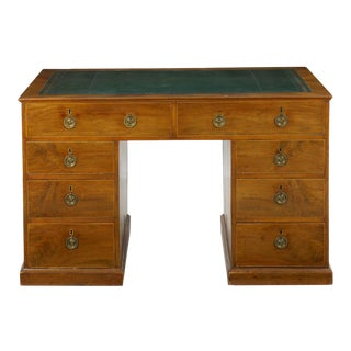 19th Century English Antique Mahogany and Leather Pedestal Desk For Sale