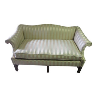 Mid Century American Newly Upholstered Camelback Striped Settee For Sale