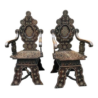 Moroccan or Syrian Bone Inlay Armchairs With Geometric Motif a Pair For Sale