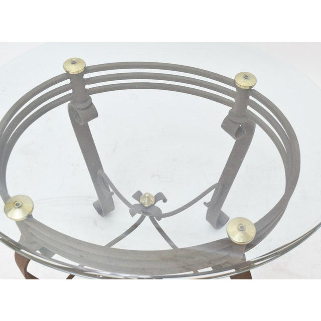 2000s Art-Deco Fer Forge Rusted Iron Finishing and Brass Finial Accent Table For Sale - Image 4 of 7