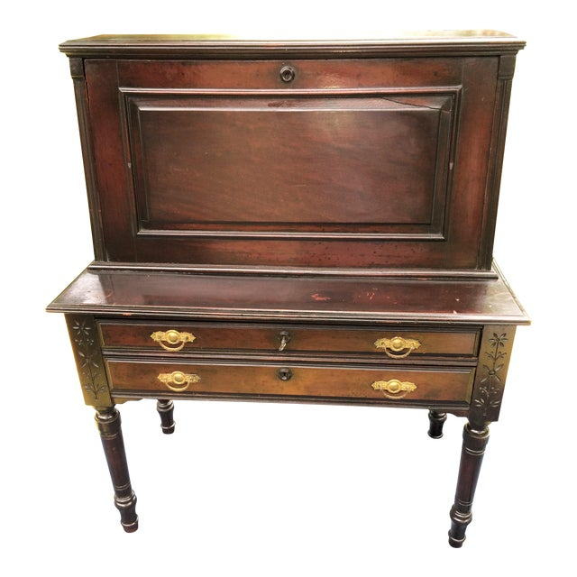 19th Century Biedermeier Turned Spindle Spooncarved Draftsman's Drop Front Desk For Sale