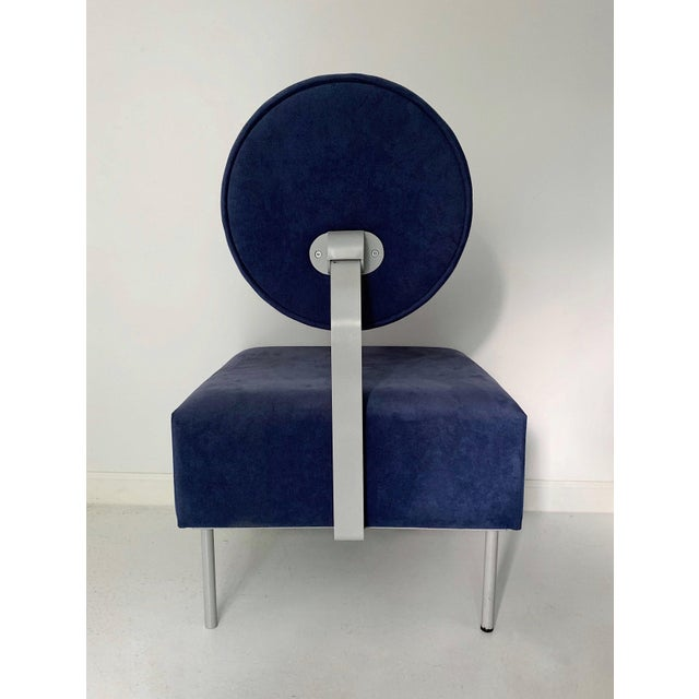 1980s 1980's Vintage Andreu World Contemporary Blue Square Lounge Chair For Sale - Image 5 of 7