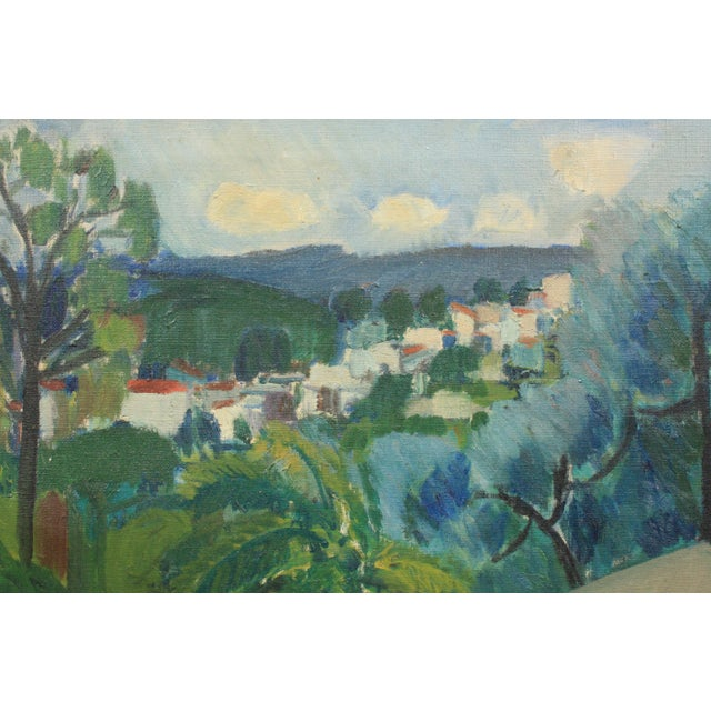 Expressionism 1940 Terrace View of a Mediterranean Village For Sale - Image 3 of 5